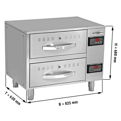 Heating cabinet with 2 drawers - 0.82 m - GN 1/1