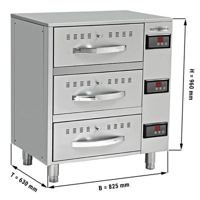 Heating cabinet with 3 drawers - 0.82 m - GN 1/1