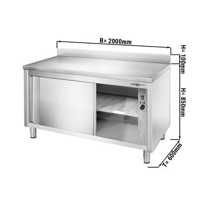 Heating cabinet PREMIUM – 2,0 m – with upstand