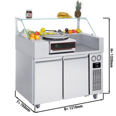 Zubereitungstisch - 1,21 x 0,7 m - mit 2 Türen - inkl. Crepes Gerät mit 1 Platte & Teigverteiler