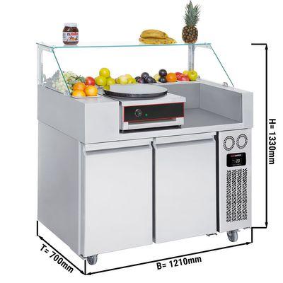 Zubereitungstisch - 1,21 x 0,7 m - mit 2 Türen - inkl. Crepes Gerät mit 1 Platte