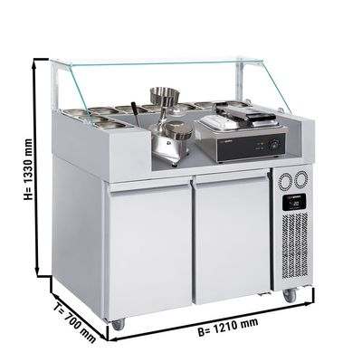 Refrigerated Preparation Unit and Toaster- 1.21 x 0.7 m- 2 doors- Including Toaster and Hamburger machine