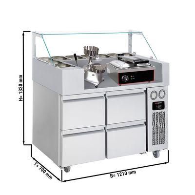 Zubereitungstisch - 1,21 x 0,7 m - mit 4 Schubladen 1/2 - inkl. Kontaktgrill & Hamburgermaschine