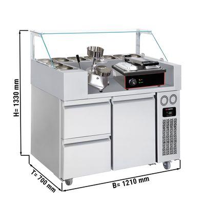 Zubereitungstisch - 1,21 x 0,7 m - mit 1 Tür & 2 Schubladen 1/2 - inkl. Kontaktgrill & Hamburgermaschine