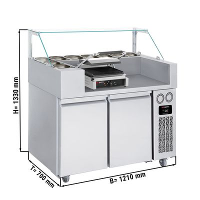 Refrigerated preparation unit- 1,21 x 0,7 m - with 2 doors incl. Toster