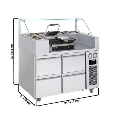 Zubereitungstisch - 1,21 x 0,7 m - mit 4 Schubladen 1/2 - inkl. Kontaktgrill