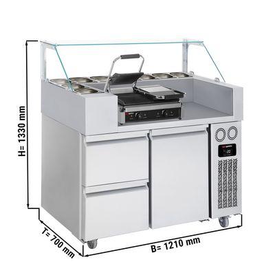 Zubereitungstisch - 1,21 x 0,7 m - mit 1 Tür & 2 Schubladen 1/2 - inkl. Kontaktgrill
