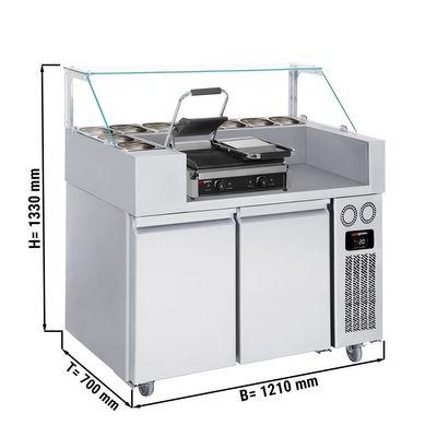 Zubereitungstisch - 1,21 x 0,7 m - mit 2 Türen - inkl. Kontaktgrill