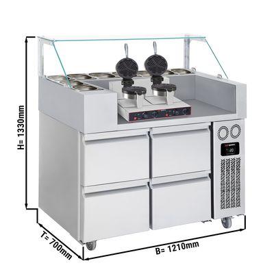 Zubereitungstisch - 1,21 x 0,7 m - mit 4 Schubladen 1/2 - inkl. Waffeleisen - Herzform