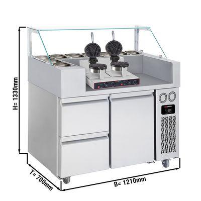 Zubereitungstisch - 1,21 x 0,7 m - mit 1 Tür & 2 Schubladen 1/2 - inkl. Waffeleisen - Herzform