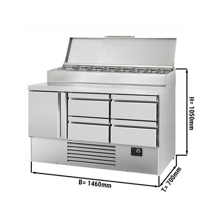 Zubereitungskühltisch (GN) - 1,46 x 0,7 m - mit 1 Tür & 4 Schubladen 1/2 & 1/3