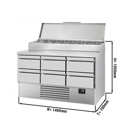 Zubereitungskühltisch (GN) - 1,46 x 0,7 m - mit 6 Schubladen 1/2 & 1/3
