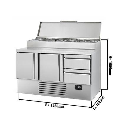Zubereitungskühltisch (GN) - 1,46 x 0,7 m - mit 2 Türen & 2 Schubladen 1/2 & 1/3