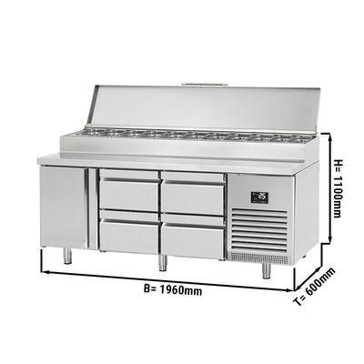 Zubereitungskühltisch - 1,96 x 0,7 m - mit 1 Tür & 4 Schubladen 1/2