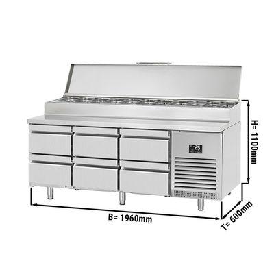 Zubereitungskühltisch - 1,96 x 0,6 m - mit 6 Schubladen 1/2
