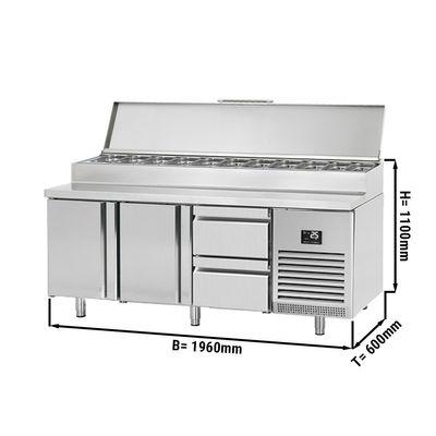 Zubereitungskühltisch - 1,96 x 0,6 m - mit 2 Türen & 2 Schubladen 1/2