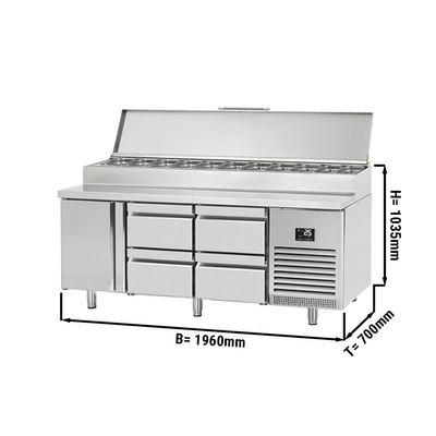 Zubereitungskühltisch (GN) - 1,96 x 0,7 m - mit 1 Tür & 4 Schubladen 1/2