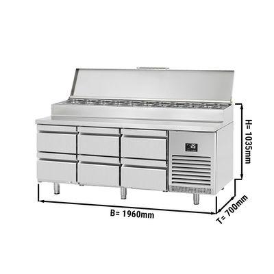 Zubereitungskühltisch (GN) - 1,96 x 0,7 m - mit 6 Schubladen 1/2