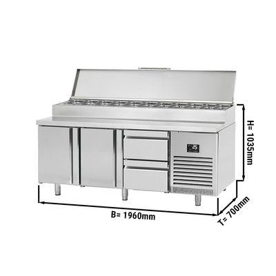 Zubereitungskühltisch (GN) - 1,96 x 0,7 m - mit 2 Türen & 2 Schubladen 1/2
