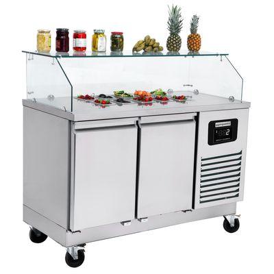 Zubereitungstisch / Saladette - 1,4 x 0,7 m - mit 2 Türen - für 6x GN 1/1