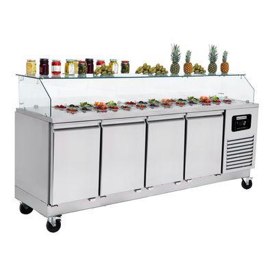 Zubereitungstisch / Saladette - 2,33 x 0,7 m - mit 4 Türen - für 6x GN 1/1