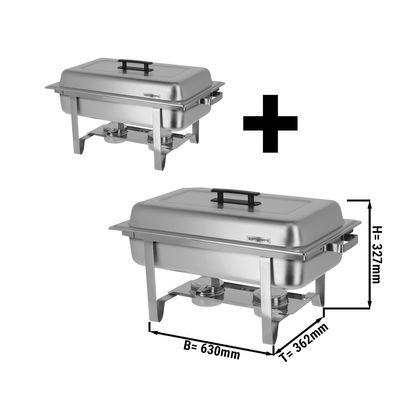 (2 Stück) Chafing Dish mit Deckel & Edelstahl-Beinen