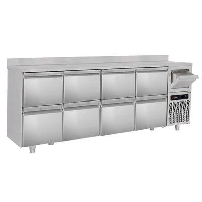 Bar Getränkekühltisch 2,69 m - mit 8 Schubladen 1/2, Aufkantung & Ausklopfer für Kaffee