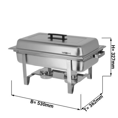 Chafing Dish long with hinged lid and stainless steel legs