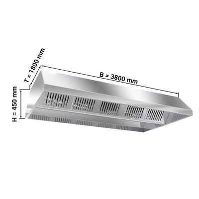 صندوق تهوية سقفي عرض 380 سم مع فلتر وانارة