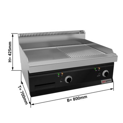 Electric griddle - smooth - grooved (8 kW)