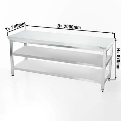 Fleischereitisch PREMIUM - 2,0 m - Arbeitsplatte 40 mm - mit Grundboden & Zwischenboden