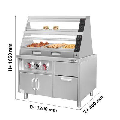 Warmhaltevitrine - 1,2 m - 2 Ablagen inkl. Unterschrank mit Becherhalter & Eiswürfelfach