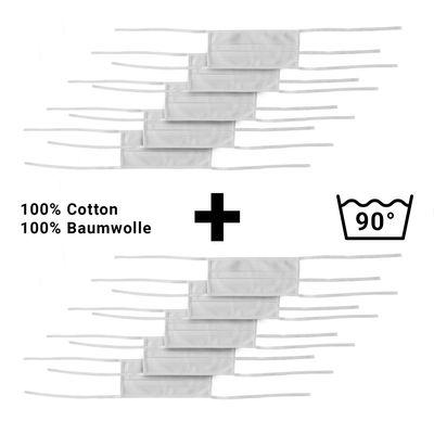 (10 Stück) Mundschutz - Weiß - mit Bindeband