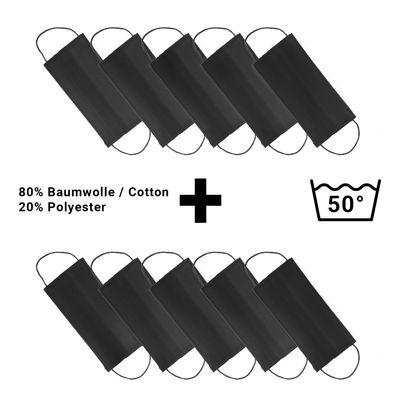 (10 Stück) Stoffmaske | Behelfs-Mundschutz - Schwarz - 10er-Set