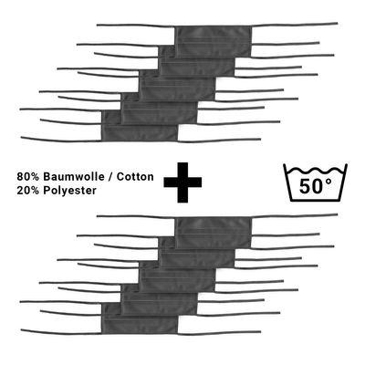 (10 Stück) Stoffmaske | Behelfs-Mundschutz - Schwarz - mit Bindeband - 10er-Set