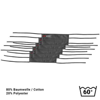 (5 Stück) Stoffmaske / Behelfs-Mundschutz- Schwarz - mit Bindeband - mit GGM Logo
