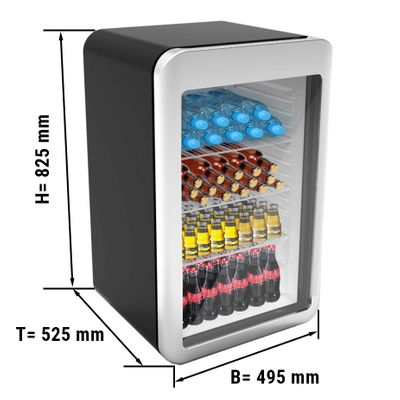 Mini bar fridge - 113 litres - with 1 glass door - black/ silver