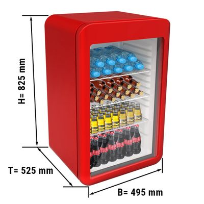 Mini bar fridge - 113 litres - with 1 glass door - red