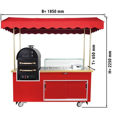 Kumpir potato oven trolley with 2 drawers & saladette (Red)
