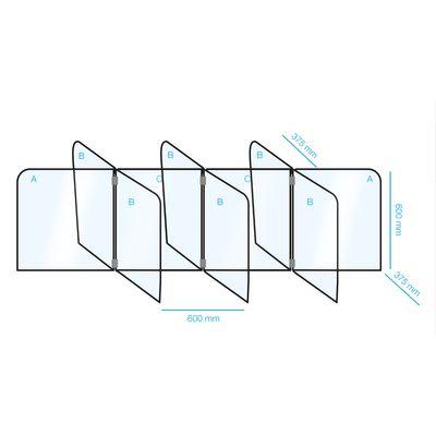 Tisch- Kunststofftrenner / Hygieneschutz - Set für 8 Arbeitsplätze