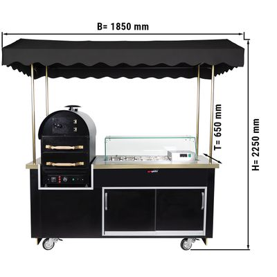 Kumpir potato oven trolley with 2 drawers & saladette (Black)