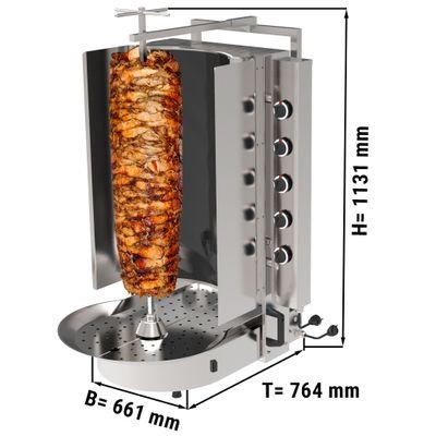 Gyros/ kebab grill - 10 burners - with Robax glass - max. 90 kg