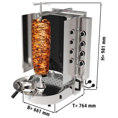 Gyros/ kebab grill - 8 burners - with Robax glass - max. 75 kg
