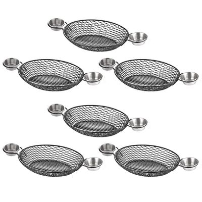 (6 pieces) Finger food basket - oval with handles