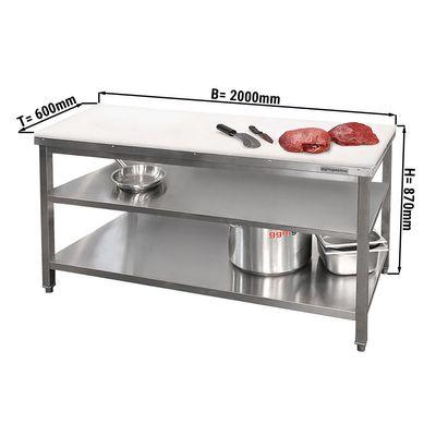 Butcher's table PREMIUM - 2.0 m - worktop 40 mm - with base shelf & intermediate shelf