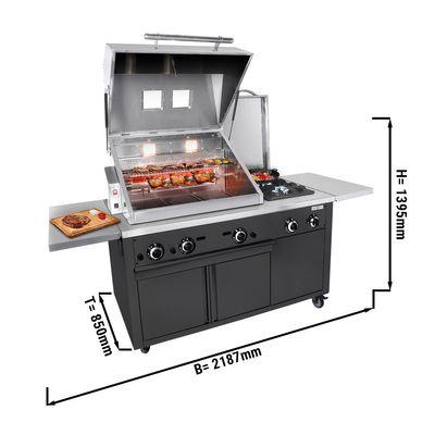 Station de grillage - Cuisine de barbecue professionnelle - Noir