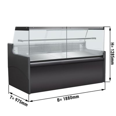 Refrigerated display cabinets for meat - 1,88 m - 580 litres - black