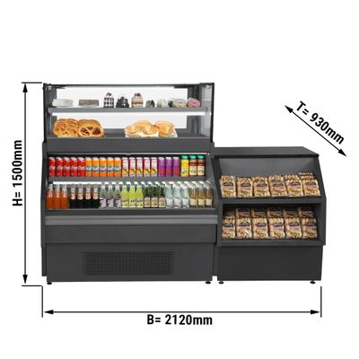 Sales counter / refrigerated counter - 1.32 x 0.93 m - with cash desk - 0.8 x 0.93 m
