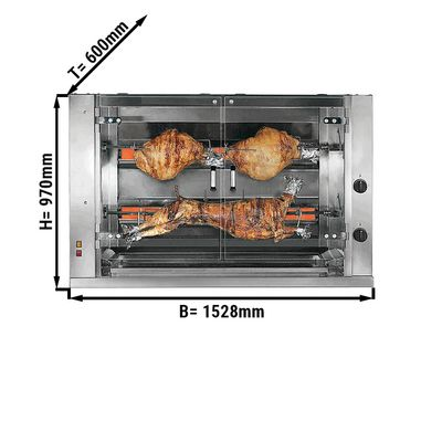 Gas lamb / suckling pig grill with 2 skewers