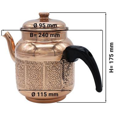 Théière en cuivre - 1 litre - avec couvercle